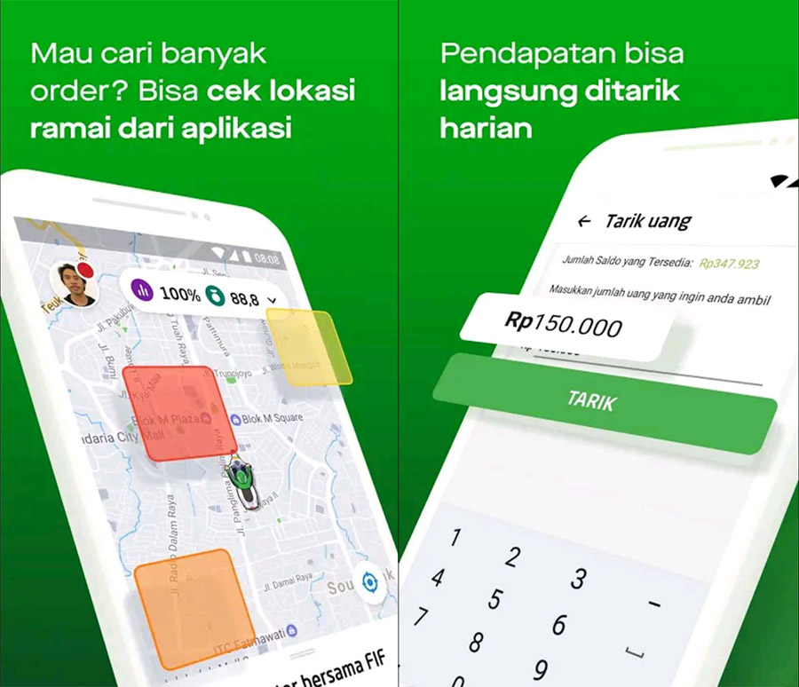 Aplikasi untuk driver dapat di download melalui Google Play Storefstire
