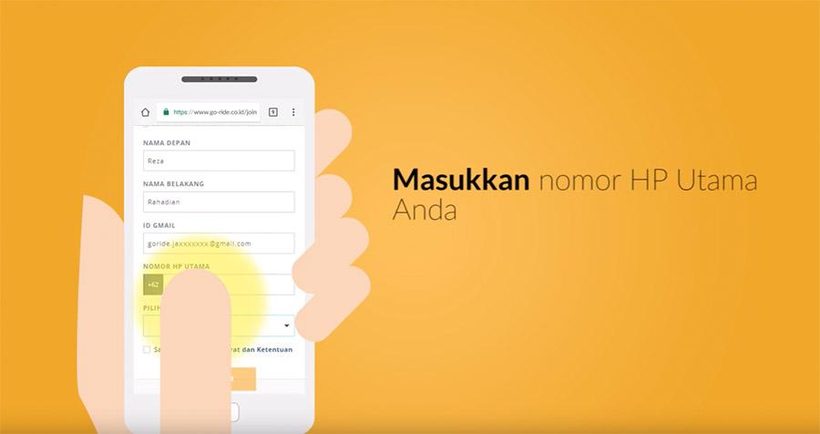 Isi data nomor handphone dan alamat rumah calon driver Gojek