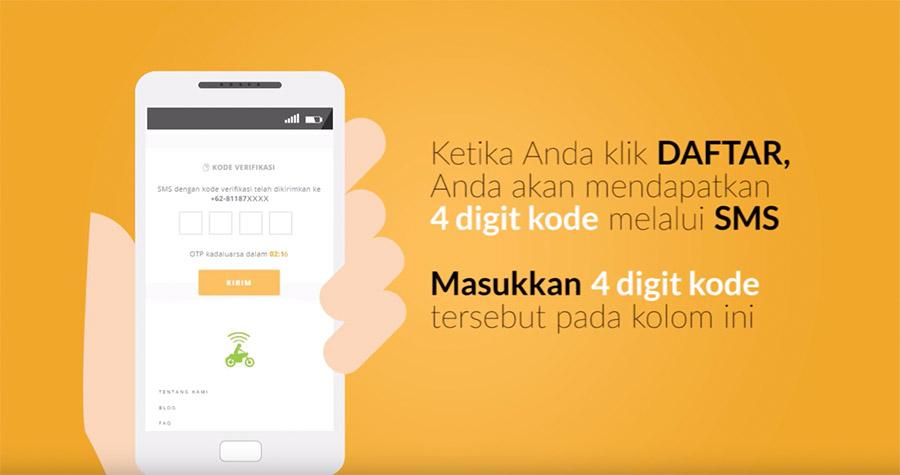 4 Digit Kode verifikasi pendaftaran driver Gojek