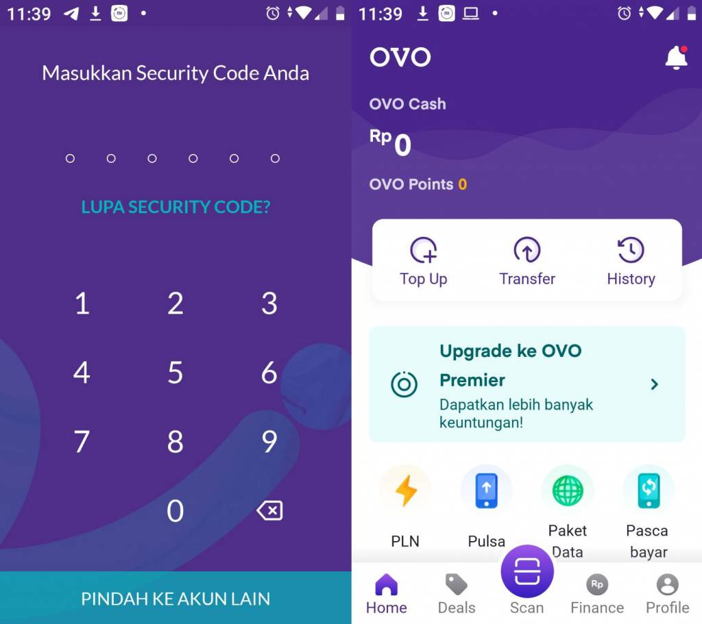 Masuk ke aplikasi OVO