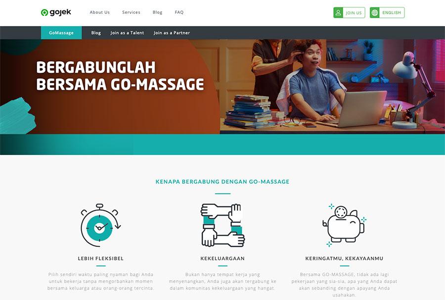 Pendaftaran GoMassage bisa dilakukan melalui website GoJek