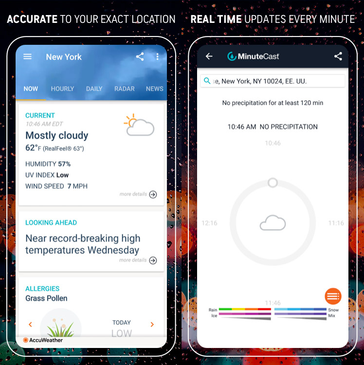Tampilan aplikasi prakiraan cuaca AccuWeather