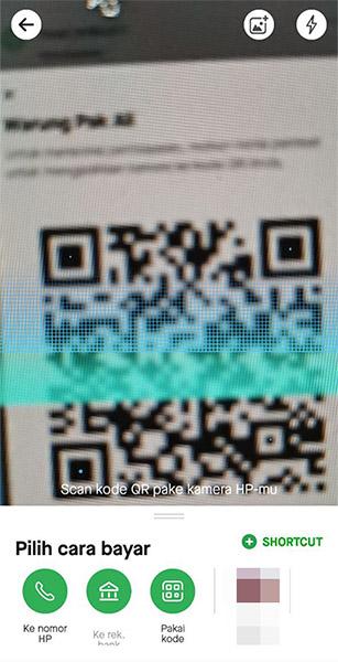 Tampilan menu Bayar pada aplikasi Gojek