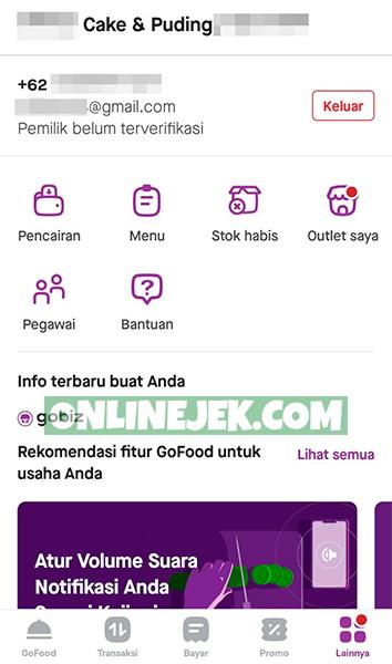 Tampilan aplikasi GoBiz dari Gojek