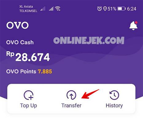 Menu Transfer pada aplikasi OVO