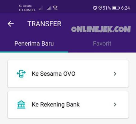 Pilih opsi transfer Ke Rekening Bank