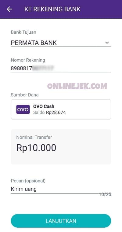 Pilih Bank Permata sebagai bank tujuan transfer