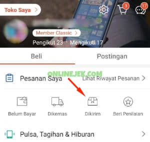 Status pesanan Dikirim pada aplikasi Shopee