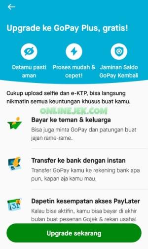 Keuntungan upgrade akun GoPay
