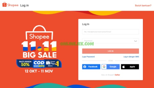 Login ke website Shopee