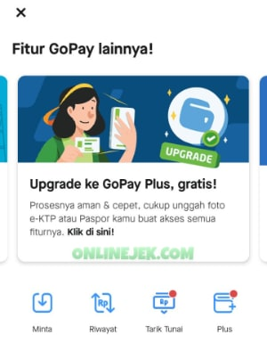 "Pilih slide ""Upgrade ke GoPay Plus, gratis!"""