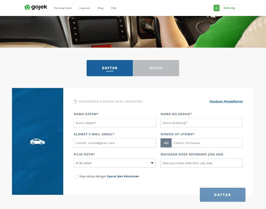 Tampilan halaman pendaftaran secara online di website resmi GoCar