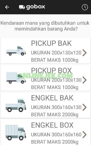 Pilih jenis kendaraan GoBox yang diinginkan