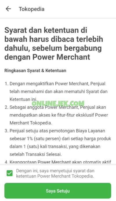 Syarat dan ketentuan upgrade ke Power Merchant