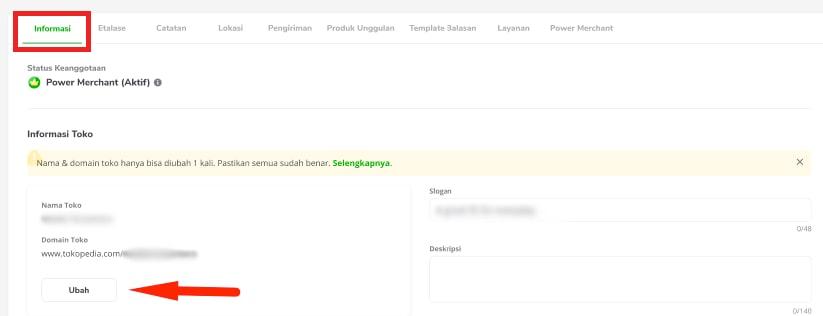 Tombol ubah nama toko di tab Informasi di Tokopedia Seller