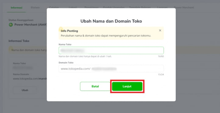 Tampilan layar untuk menuliskan nama dan domain toko yang baru