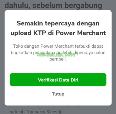 Verifikasi diri Power Merchant