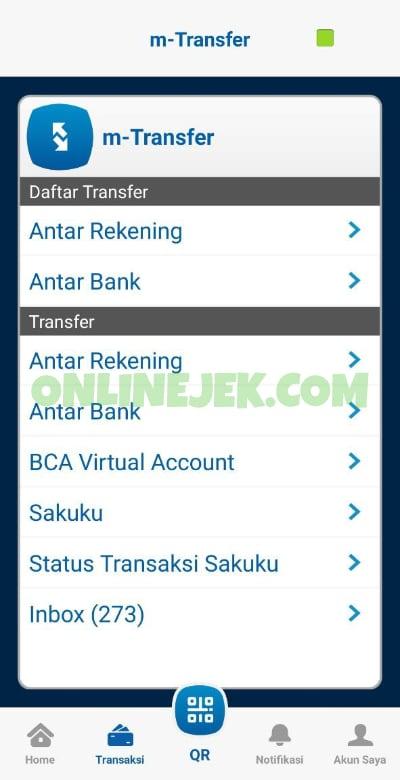 Menu-menu m-Transfer pada aplikasi BCA Mobile