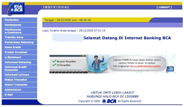 Tampilan halaman KlikBCA