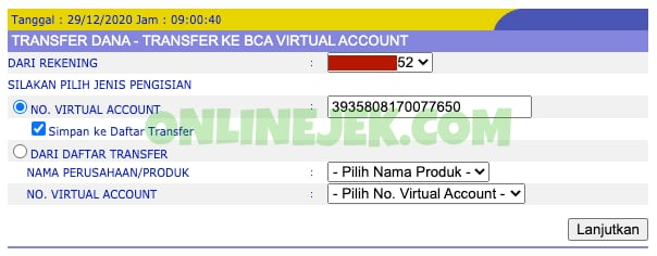 Transfer KlikBCA Virtual Account ke OVO
