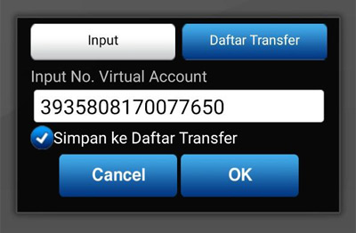 Input nomor virtual account OVO di BCA Mobile