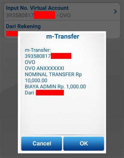 Transfer dari BCA Mobile ke akun OVO