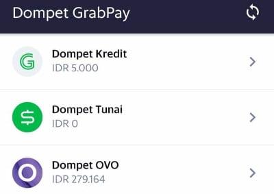Dompet Kredit pada aplikasi Grab Driver