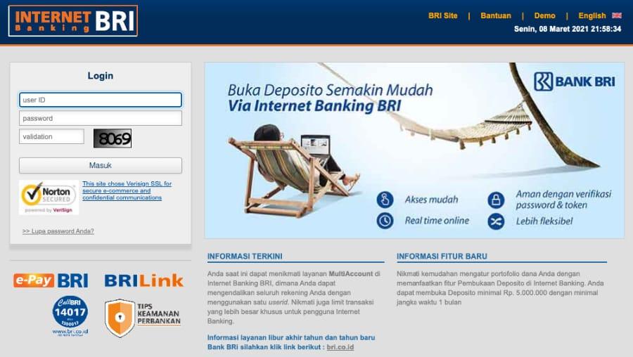 Tampilan halaman website internet banking BRI