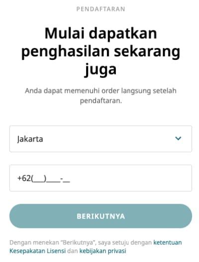 Pendaftaran nomor handphone