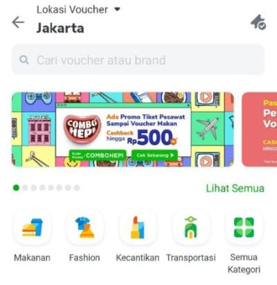 Tampilan menu pilihan kategori voucher yang ada pada aplikasi Tokopedia
