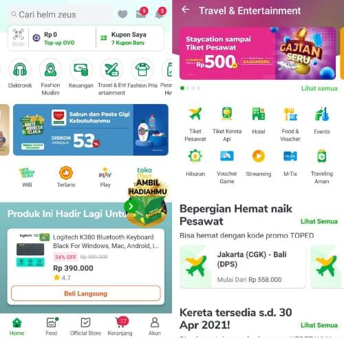 Menu Travel & Entertainment di aplikasi Tokopedia