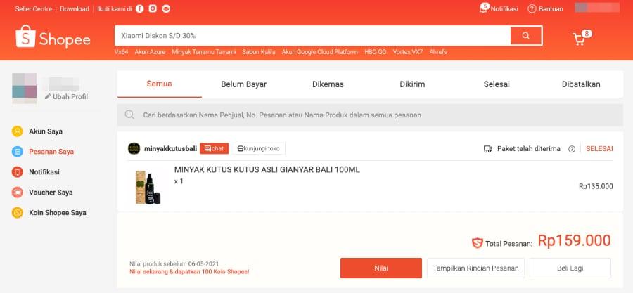 Tampilan halaman Pesanan pada website Shopee