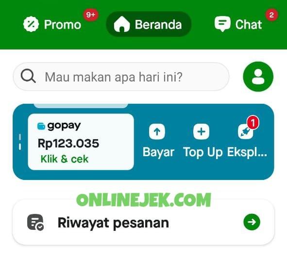 Tampilan utama aplikasi Gojek