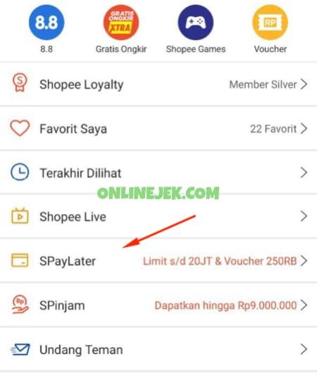 Menu SPayLater di aplikasi Shopee
