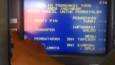 Menu Transfer pada ATM BNI