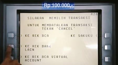 Menu transfer Virtual Account di ATM BCA