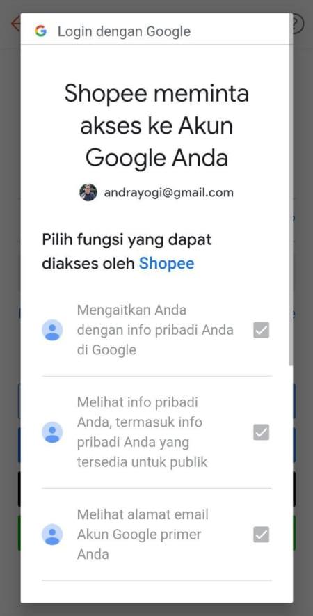 Cara login Shopee pakai akun Google