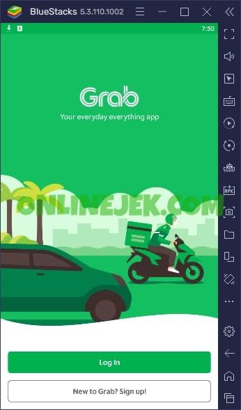 Tampilan aplikasi Grab ketika dibuka melalui emulator di PC berbasiskan sistem operasi Windows