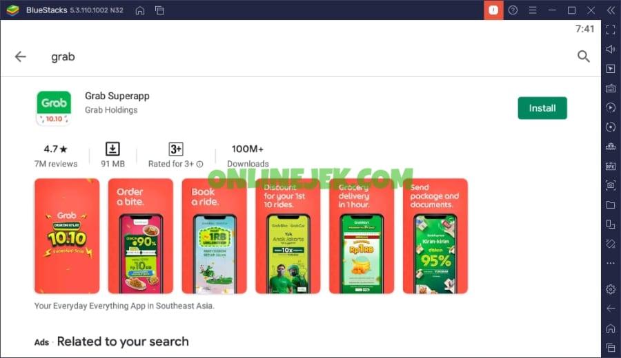Pasang aplikasi Grab pada komputer melalui Android emulator